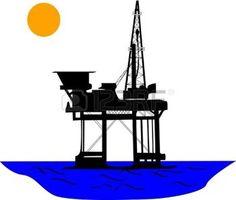 plateforme: Plate-forme pétrolière au milieu de la mer, sous le soleil. Illustration