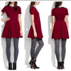 Madewell red / maroon and black leather dress In perfect condition. So cute! Madewell Dresses