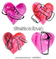 Set of vector illustrations of different fitness equipment on bright colorful watercolor hearts. Black sketchy outlines on pink paper textured background.