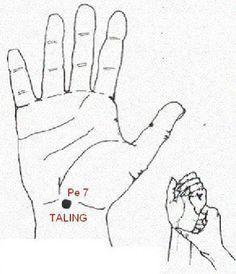 PUNTO TALING; al masajear por dos minutos con el dedo pulgar, inmediatamente sentirán una sedación generalizada.Excelente zona para conciliar el sueño, la hipertensión o mitigar algún tipo de ansiedad. En la antigüedad era considerado uno de los puntos favoritos para superar el insomnio. También es bueno para los dolores de pecho y arritmias; calma la mente.