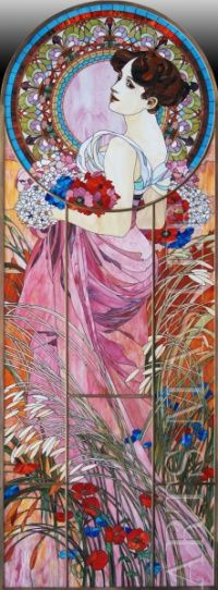 """Stained art of stained glass. One of a series of stained glass windows based on works by A. Mucha made for registration of recreation areas in the interior. Stained glass was made in the technique of """"Tiffany"""" with paintings and handmade faceted parts."""
