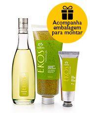 Presente Natura Ekos Ritual de Refrescância para todo o dia - Desodorante Colônia + Sabonete Líquido Esfoliante + Polpa Para as Mãos + Embalagem Desmontada