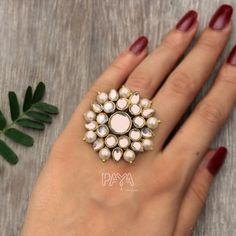 Kundan Ring Faux Pearl Ring For Women Handmade Indian image 1 Tikka Jewelry, Saree Jewellery, Indian Jewelry Sets, Fancy Jewellery, Silver Jewellery Indian, Indian Jewellery Design, Indian Earrings, Jewellery Storage, Jewelry Design Earrings