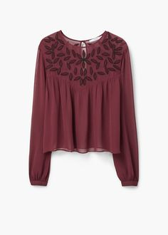 Beaded chiffon blouse -  Women | MANGO USA