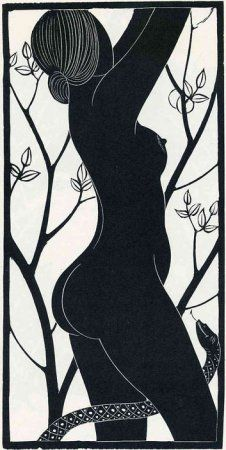 Eric Gill, Eve (Print) 1926 Wood engraving on paper, coloured by hand with watercolour Gravure Photo, Arte Tribal, Illustration, Adam And Eve, Art Graphique, Wood Engraving, Linocut Prints, Giclee Print, Erotic Art