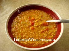 Middle Eastern Red Lentil Soup  #veganmofo2013
