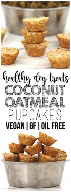 Coconut Oatmeal Pupcakes – the perfect, easy & healthy dog treat! Vegan, gluten-free, and oil-free. Dog Cake Recipes, Dog Biscuit Recipes, Dog Treat Recipes, Dog Food Recipes, Peanut Recipes, Homemade Dog Cookies, Homemade Dog Food, Diy Dog Treats, Healthy Dog Treats
