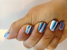 Seaside nails, blue white and purple shellac