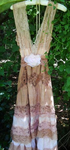 Rustic wedding, boho, vintage lace dress tea stained  tiered by vintageopulence, $160.00