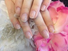 Gel overlay on natural nails with pink whisper gel polish.