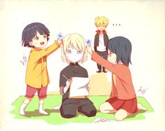 Himawari, Inojin, and Sarada. Lol Bolt in the background!