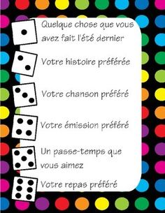 Icebreaker games in FRENCH These dice games are great for the start of a new school year - or anytime, really - for building community within your classroom and practicing oral communication skills. First Day Of School Activities, 1st Day Of School, School Resources, French Flashcards, French Worksheets, Oral Communication Skills, French Language Learning, Spanish Language, Learning Spanish