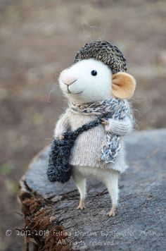 """demekin:  Little Traveler Mouse Needle Felted Ornament by feltingdreams   """