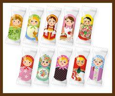 Matryoshka pattern chocolate wrappers Matrioska- Matroschka- Matriochka- Matrjosjka- russische Puppe Matroesja- Russian Nesting Doll   www.matrioskas.es
