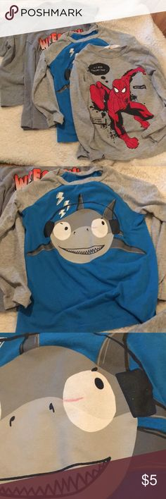 Four Size 5 T-shirts Great play clothes. Three long sleeved and one short sleeve. The gray short sleeve is Hanes size medium. My four year old can wear it and he is big for his age. Wrecking shirt is Garanimals. Shark shirt is Okie Dokie and has a red line through the eye. The Spider-Man shirt is H&M Garanimals Shirts & Tops Tees - Long Sleeve