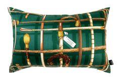 超希少ピエロフォルナセッティI BASTONIグリーンデザインのヴィンテージ生地ビッグ横長クッション #クッション #クッションカバー #ピエロフォルナセッティ #fornasetti #vintage #ヴィンテージ #cushion #cushioncover #pillow