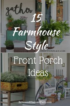 15 Farmhouse Style Front Porch Ideas - Renewed Claimed Path If you are ready to start thinking about how to decorate your front porch, I've rounded up several farmhouse style front porch ideas. Summer Front Porches, Small Front Porches, Decks And Porches, Porch Ideas Summer, Front Porch Flowers, Planters For Front Porch, Summer Porch Decor, Vintage Farmhouse, Farmhouse Style