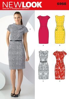 6968 Misses' Dresses              New Look sewing pattern. Misses' dress with collar and bodice variations.