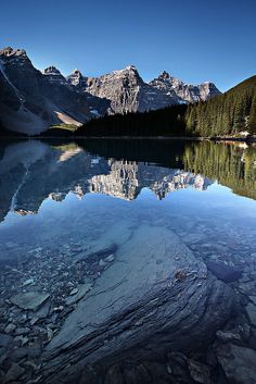 A rock and reflection by Oilfighter, via Flickr; Moraine Lake, Alberta, Canada