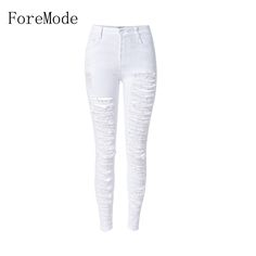 Find More Jeans Information about ForeMode Are A Slim Waist Torn Personality Stretch Denim Pants Feet,High Quality pants jumpsuit,China denim uggs Suppliers, Cheap pants yoga from Foremode For Women Store on Aliexpress.com