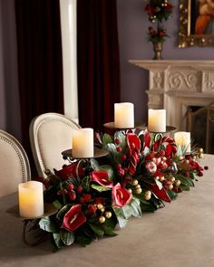 Celebrate the most exciting and cherished holiday of the entire year with Gorgeous Christmas Floral Arrangements that bring nature indoors and set a mood of generosity and appreciation. Christmas Candle Decorations, Christmas Candles, Christmas Home, Holiday Decor, Christmas Ideas, Family Holiday, Outdoor Decorations, Homemade Christmas, Table Decorations