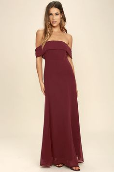 It's impossible to be anything but graceful in the Perfectly Poised Wine Red Off-the-Shoulder Maxi Dress! Chiffon shapes an elasticized, off-the-shoulder neckline and princess seamed bodice atop an elegant maxi skirt. Hidden back zipper with clasp.