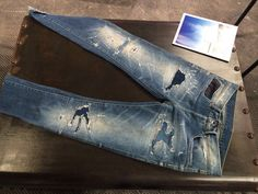 """Crafted Essay """"The Denim Crushed"""" finishing trend from #denimpv #barcelona #aw15 #denim #washes #vintage"""