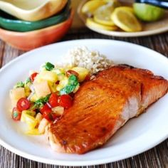 Broiled salmon with mango salsa and rice… this is the perfect :- mango is the perfect fruit to be cooked with salmon. it will be delicious and tasty for all the family to have a dinner together at home and have happy tim Salmon Recipes, Fish Recipes, Seafood Recipes, Dinner Recipes, Cooking Recipes, Mango Salsa, Pineapple Salsa, Pineapple Curry, Canned Pineapple