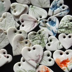 Handmade Porcelain Heart Buttons Pressed with by melissaceramics, £1.50