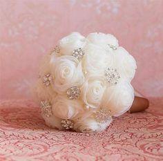 nice Brides Bridesmaids Brooch Bouquet  Jewelled Wedding Accessory Handmade Flowers C...by duratan-wedding.top