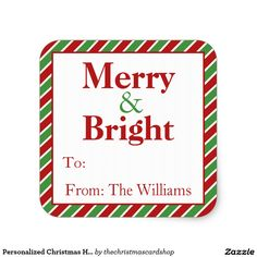 Personalized Christmas Holiday Gift Tag Stickers