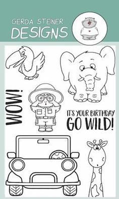Looking for adventure? Make your own adventure scenes with these cute safari animals with ranger. Who might be driving? A giraffe?