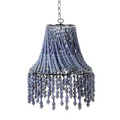 Beaded chandeliers look just as good when they're off as they do when they're on, making them the perfect summer lighting showpiece. Chandelier Bedroom, Beaded Chandelier, Chandelier Shades, Beaded Lamp Shades, Chandelier Lighting, Chandeliers, Handmade Lamps, Diy Crystals, Mason Jar Lighting
