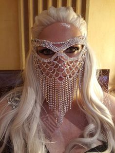 Our masks are in stock, ready to ship immediately. The Mask is 11 inches wide and 8 inches tall. Turn some heads an Bridal Mask, Face Jewellery, Face Veil, Silver Rhinestone, Mask Design, Design Art, Design Ideas, Black Ribbon, Fashion Face Mask