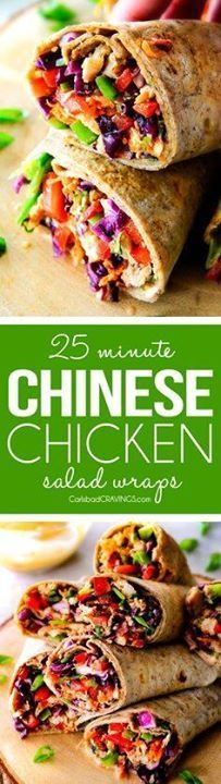 25 MINUTE fresh and 25 MINUTE fresh and crunchy Chinese Chicken...  25 MINUTE fresh and 25 MINUTE fresh and crunchy Chinese Chicken Salad Wraps are your favorite Chinese salad in easy satisfying healthy portable wrap form! The vibrant dressing is amazing and the addition of Sweet Chili Sauce takes these to a whole new level! I love having this filling on hand! Recipe : http://ift.tt/1hGiZgA And @ItsNutella  http://ift.tt/2v8iUYW