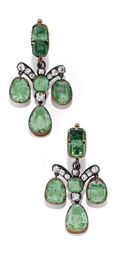 A PAIR OF ANTIQUE GOLD, SILVER, EMERALD AND DIAMOND EARRINGS, 19TH CENTURY. #antique