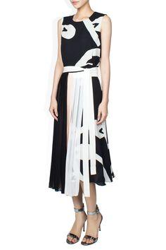 Issa Kay Pleated Black Multi Dress LaPrendo