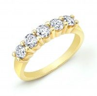 Be Enchanted by This 14K Yellow Gold Ladies Wedding Band with 5 Diamonds, from www.24Intl.com