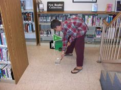Golfing at the Port Jefferson library.