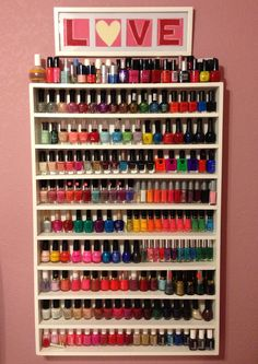 """DIY Nail Polish Rack ! I combined different techniques that previous bloggers used & choose what was best for me! Many use foam boards... I preferred wood just because I wanted something that would not only last a lot longer but be safe & secure for all my nail polishes! I assembled the rack using nails instead of """"gorilla glue"""" just because I didn't want to risk any of the shelfs falling apart. Finished it off with a couple coats of white paint to match my decor (I think using spray paint…"""
