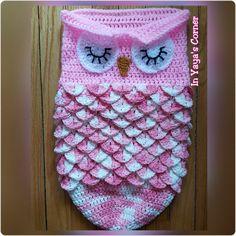 Crochet Baby Owl Cocoon - Baby Sack - Sleeping Owl - Photo Prop - PINK
