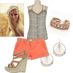 Summer styles. Coral shorts, button up top, wedges