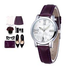 Женские кварцевые часы на кожаном ремешке