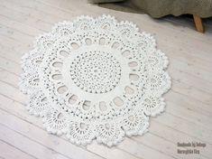 Crochet carpet KING 53 in. Round rug floor lace living room