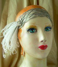 sea foam  flapper headband with tiny vintage sea horse by owllamode
