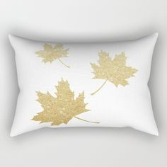 Falling Leaves | Gold Glitter Rectangular Pillow by A Little Leafy