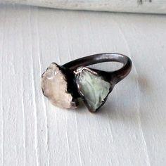 Morganite Prasiolite Copper Ring Peach Mint Gem by MidwestAlchemy
