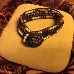 """Check out the fabulous bracelet Artbeader Barbara made with help from Miyuki baroque pearl seed beads purchased at Artbeads.com. Barbara says, """"These beads are absolutely beautiful and I had to have every color."""""""