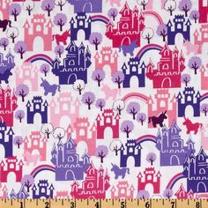 Michael Miller Princess Castles In The Sky Pink from @fabricdotcom Designed for Michael Miller Fabrics, this cotton print features pink and purple castles with unicorns.