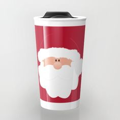 "Santa Claus coffee mug Take your coffee to go with a personalized ceramic travel mug.  Double-walled with a press-in suction lid, the two-piece (12oz) design ensures long lasting temperatures while minimizing the risk of spillage from kitchen to car to office. Standing at just over 6"" tall with wrap around artwork, safely sip hot or cold beverages from this one of a kind mug."